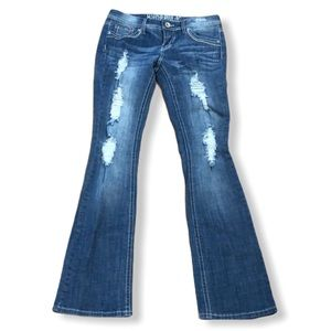 "Hydraulic ""Bailey"" Slim Boot Cut Distressed Jeans"